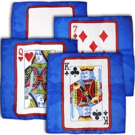 "Foulard à la carte set 4 foulards bleu 12"" ( 30 cm )"